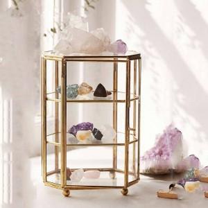 Caja de almacenamiento creativa Bandeja de almacenamiento de joyería de vidrio nórdico Caja de joyería de vidrio transparente Adornos de decoración del hogar