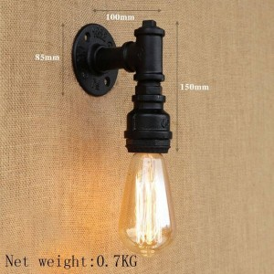 Creative Water Pipe Edison lámpara de pared retro, negro / bronce iluminación industrial tubo de agua luz de pared de hierro para restaurante cafetería pasillo