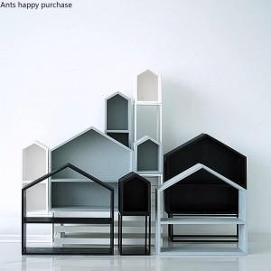Forma de casa de madera creativa Almacenamiento de escritorio Estante de postres Almacenamiento de cosméticos Estante de la magdalena Decoraciones Soporte de exhibición