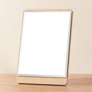 Escritorio HD Espejo de maquillaje Sencillo montado en la pared Solo lado Espejo de tocador de madera portátil Espejo cosmético mx01111058