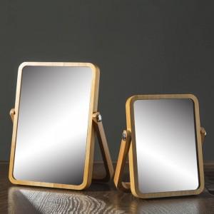 Espejo de maquillaje de escritorio espejo de vanidad de madera maciza espejo de escritorio plegable de madera portátil wx8281415