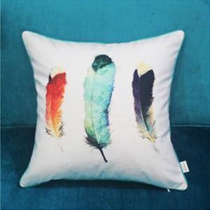 Impresión Digital Funda de Cojín de Lujo Diseño de Plumas Cojines Decorativos Para Sofá Cubierta de Coche de Navidad Suave Home Throw Almohadas