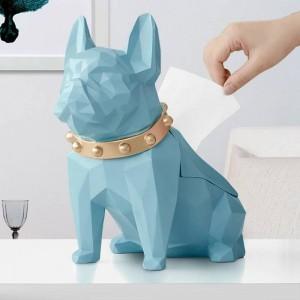 Resina de estatuilla de perro Titular de tejido de perro negro Artesanía para sala de cocina Mesa Decoración para el hogar Caja de tejido de perro geométrica creativa moderna