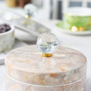 Caja de dulces de cerámica europea Caja de almacenamiento de almacenamiento doméstico Bocadillos Plato de fruta seca Regalos