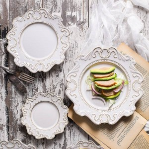 Estilo de corte europeo Vajilla de cerámica en relieve vintage Inicio Mesa Plato Plato Sopa Plato de postre