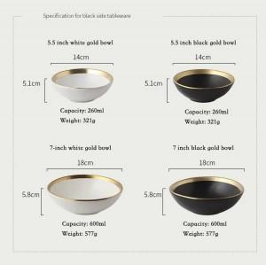 Lado de oro europeo Plato de cerámica Comida occidental Bistecs y platos Arroz Ensalada Tazón Plato de postre Vajilla Vajilla Bandeja Cocina