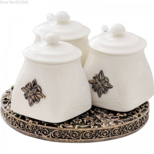 Juego de cerámica de tarro giratorio de cocina europea Combinación creativa 3 piezas Suministros de cocina Caja de condimento de tanque de sal de aceite