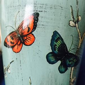 Jarra de templo de mariposa europea Habitación modelo Jarra de decoración de artesanía Jarra de almacenamiento jarrón de cerámica de porcelana