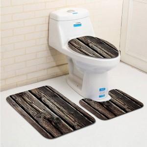 3 piezas Classc Banyo Wood Grano Alfombra de baño WC Tipo U Alfombrilla de baño Set antideslizante Tapis Salle De Bain Alfombra Bano
