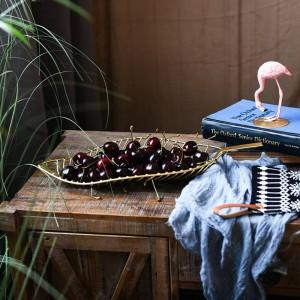 Plato de frutas Hecho a mano Hojas de metal en forma Canasta de frutas Caramelos Refrigerios Canasta de almacenamiento Mesa Plato de frutas Decoración