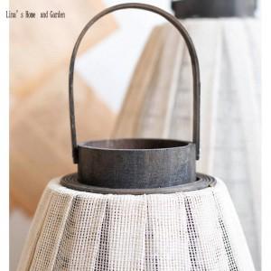 decoración de jardín huracán tela blanca candelabro linterna de madera