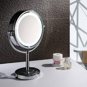 """Luces de espejo de maquillaje LED para escritorio Vanity de 8.5 """"Aumento de espejo cosmético de doble cara x10 y cromo pulido normal"""