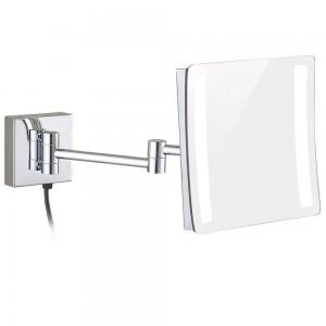 Espejo retroiluminado con lupa iluminado de 3X, alto Espejos redondos de cromo montados en la pared con brazos extendidos dobles