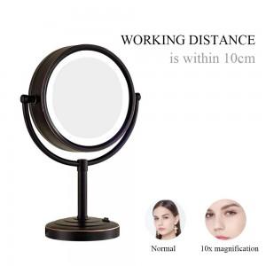 Espejo de maquillaje iluminado con aceite de bronce con 3 luces de modo y aumento 10X / 1X, espejos de pie en tocador