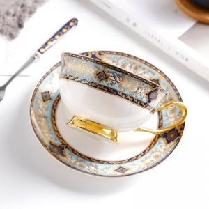 Taza de café con hueso de alto grado Juego de platillo de copa europea con borde dorado pintado a mano Inglés Flor de té Tarde Taza de té Regalos