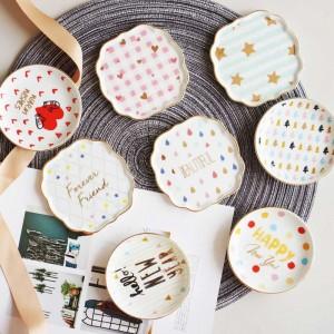InsFashion lindo plato redondo colorido patrón de joyería de cerámica pequeño plato para el delicado anillo de niña y el anillo del oído