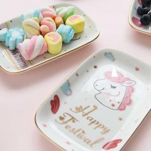 Plato de joyería y bocadillos de cerámica del encantador rectángulo de InsFashion con patrón de unicornio para juegos de regalo para niños