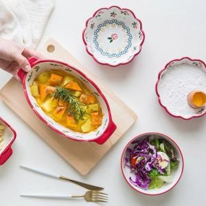 Juego de 5 piezas de asado de cerezas japonesas Juego de platos para hornear, plato para herramientas