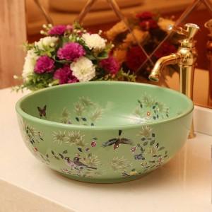 Lavabo de cerámica Lavabo artístico Lavabo Inodoro Lavabo de flores y pájaros Lavabos de baño