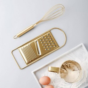 Juego de herramientas para hornear en la cocina Dorado, acero inoxidable, batidor de huevos, tamiz, tamiz, polvo, taza