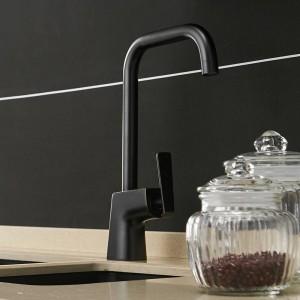 Grifos de cocina Latón Fregadero de la cocina Grifo de agua 360 Girar Giratorio Mezclador de grifo Titular de un solo orificio Negro Mezclador Grifo 866121