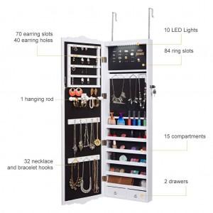 LANGRIA Armario de gabinete para joyas colgado en la pared con cerradura de longitud completa con luces LED 3 alturas ajustables