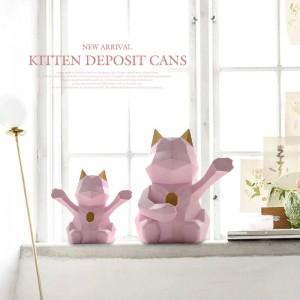 Lucky cat figurita decorativa lindo Piggy bank cat decoración para el hogar regalo moderno gato geométrico caja de monedas almacenamiento caja de dinero para niños