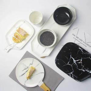 Placas de mármol Grano Indicación gris Plato de cerámica Negro Blanco Textura de mármol Vajilla de cerámica Plato de porcelana Plato