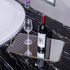 Bandeja para espejos de metal Casa Europea Decoración suave Adornos Modelo de hotel Cuarto de baño Bandeja de almacenamiento