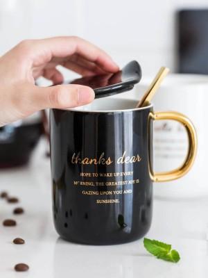 Taza Taza de oficina en contraste en blanco y negro de oro europeo con tapa Juego de tazas de cuchara de pareja