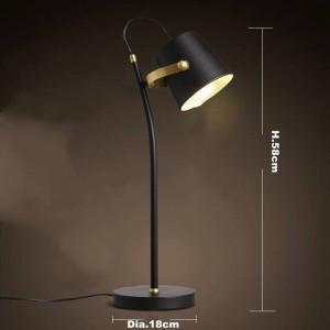 Nordic Brief Lámpara de mesa moderna Lámpara de escritorio creativa Arte de hierro negro E27 lámpara led estudio lámpara de lectura en casa lámpara de lectura