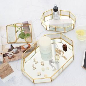 Caja de joyería de cristal nórdico caja de almacenamiento de anillo de escritorio de maquillaje creativo decoraciones de habitación caja de exhibición de bandeja