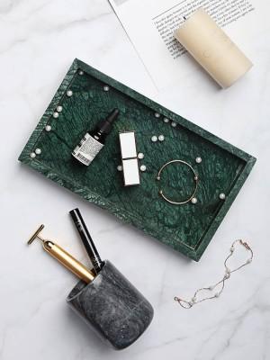 Bandeja de mármol natural minimalista nórdica Placa de joyería Decoración del hogar Bandeja de almacenamiento de baño
