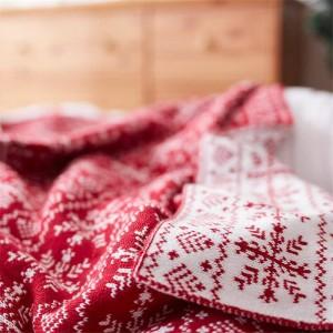 Copo de nieve nórdico Manta tejida Hilo rojo Manta Sábana Aire acondicionado Mantas para camas Sofá Decoraciones navideñas