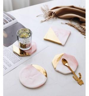 Posavasos de mármol rosa Posavasos de cerámica simple creativa Decoración de la mesa del hogar