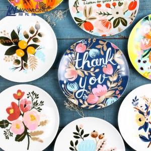 Planta Patrón de flores Vajilla Hueso Desayuno Fruta Plato Creativo Circular Vajilla de cerámica Horno de microondas Envío gratis