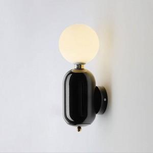Post lámpara de pared moderna color de oro blanco negro simple creativo decoración de la cabecera luz sala de estar pasillo luz de la pared
