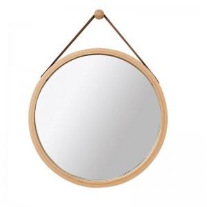 Cuero de LA PU Espejo de Pared Redonda Espejo Decorativo con Correa Colgante espejo de maquillaje de baño Incluyendo Gancho Decoración para el hogar mx3071411