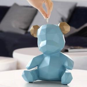 Resina Teddy Bear Figurines Caja de dinero creativa Regalo Caja de almacenamiento de bodas Dinero para niños Monederos Caja Niños Juguete Banco de monedas