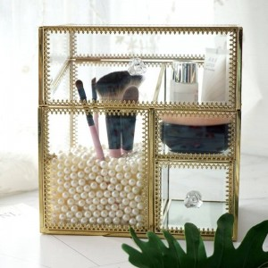 caja de cosméticos de vidrio regalo esmalte de labios rojo maquillaje algodón caja de almacenamiento cuatro en uno bordes de bronce a prueba de polvo y gris