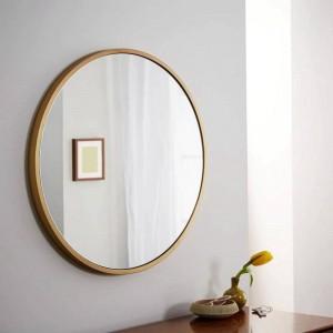 Retro Simple de metal redondo baño espejo montado en la pared dormitorio en casa espejo tocador decoración maquillaje espejo mx3011118