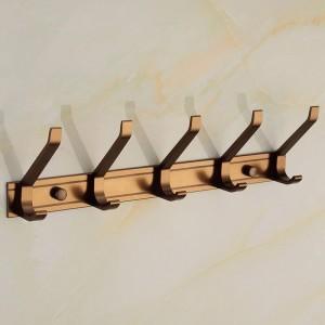 Ganchos para batas Aleación de aluminio 5 Ganchos Accesorios para el baño de la puerta Colgador de pared Sombrero Ropa Gancho Antiguo Hogar Decorativo MJ-7015