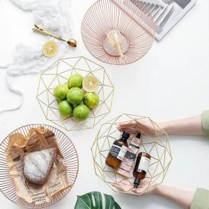 Canasta de frutas de hierro forjado chapado en oro de estilo simple Olla de pan de hogar Cesta de almacenamiento de escombros creativa Decoración Plato de frutas