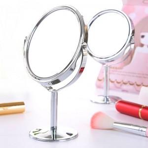 Pequeño espejo de maquillaje de escritorio redondo oval mesa espejo simple damas hogar metal giratorio espejo de vanidad de doble cara mx318094