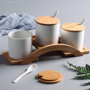 Combinación de tarro de especias tipo de puente de arco Caja de especias de cerámica creativa Tarro de especias Aceite para el hogar Caja de condimentos de pimienta salada Combinación