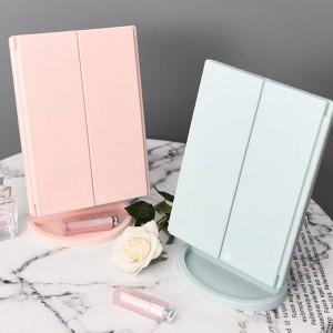Plaza plegable Inicio LED espejo de maquillaje de escritorio con lámpara bandeja de almacenamiento tocador de carga espejo de maquillaje mx12281450