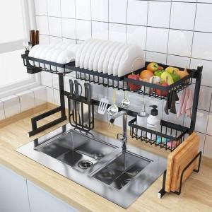 Suministros de almacenamiento de utensilios de organizador de platos de estante de fregadero de cocina de acero inoxidable