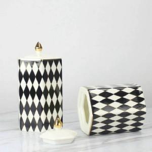 Tanque de almacenamiento En blanco y negro Diamante Plaid Cerámica Tarro decorativo Decoración del hogar Decoración
