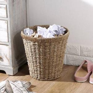 Basura redonda de paja Basura Basura doméstica Juego de macetas Contenedor de almacenamiento Práctico cesto de basura