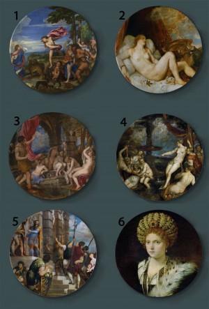 Tiziano Vecellio Pintura Placas Decorativas Cerámica Hogar Artístico Fondo del Hotel Pantalla Venecia Escuela de Pintura Al Óleo Placa